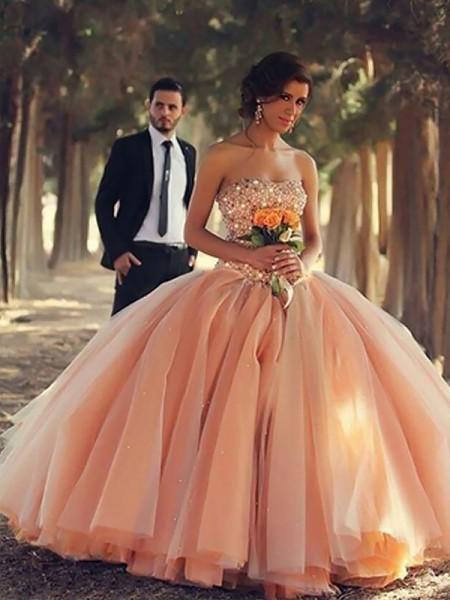 Robe de bal Sans Manches Sans bretelles Perles Longueur ras du sol Tulle Robes