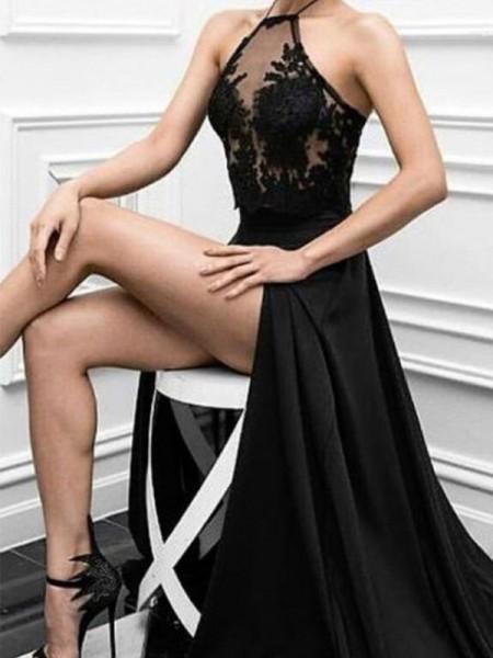 Trapèze/Princesse Licou Sans Manches Longueur ras du sol Appliqués Satin stretch Robes