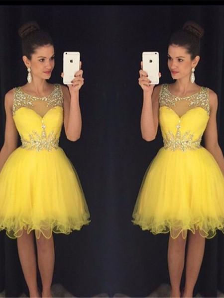 Trapèze/Princesse Col plongeant Sans Manches Perles Tulle Courte/Mini Robes