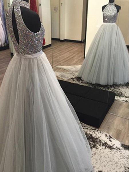 Trapèze/Princesse Licou Sans Manches Longueur ras du sol Perles Tulle Robes