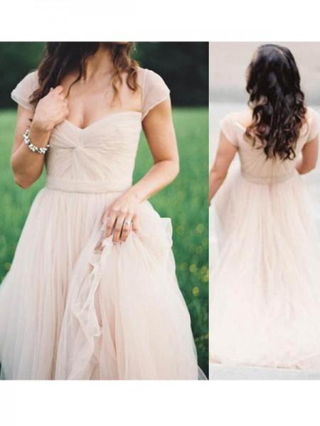 Trapèze/Princesse Col en coeur Sans Manches Longueur ras du sol Froncée Mousseline Robes