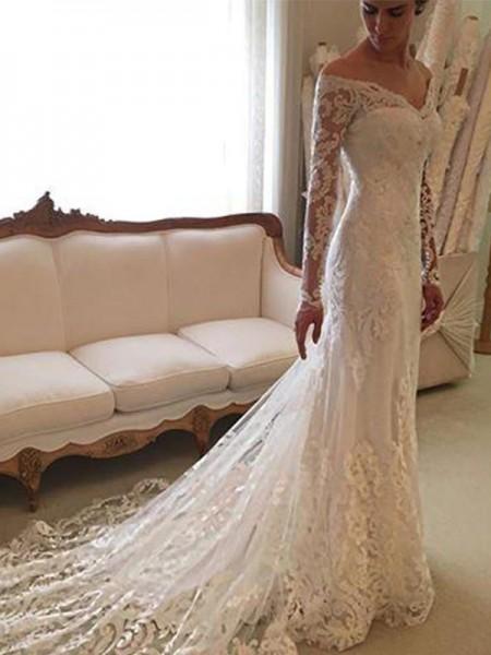 Fourreau Manches longues Dentelle Épaules dégagées Traîne moyenne Robes de Mariée