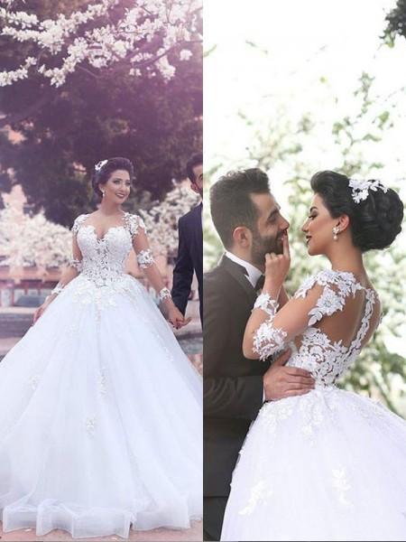 Robe de bal Traîne moyenne Col en coeur Manches longues Tulle Robes de Mariée