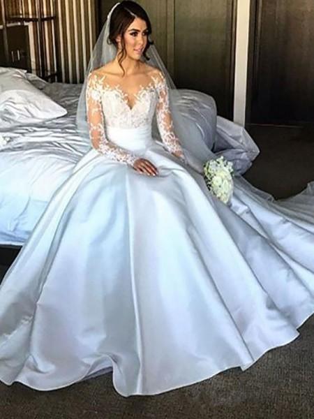 Robe de bal Manches longues Satiné Traîne moyenne Robes de Mariée