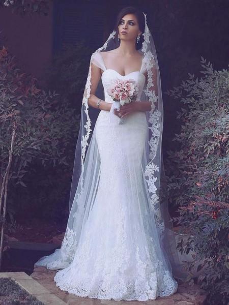 Sirène/Trompette Tulle Sans Manches Traîne courte Avec bretelles Robes de Mariée