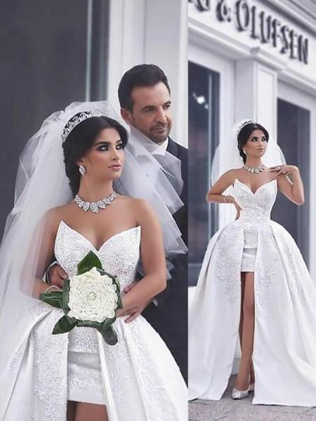 Robe de bal Perles Satiné Sans Manches Traîne mi-longue Col en coeur Robes de Mariée