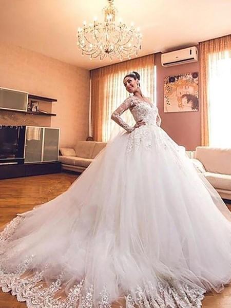 Robe de bal Manches longues Tulle Col en V Traîne moyenne Robes de Mariée