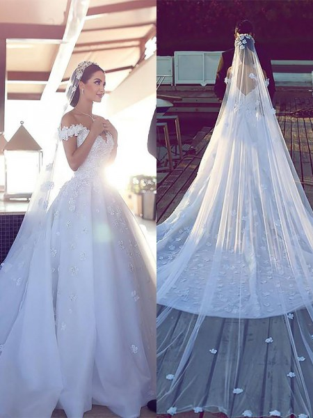 Robe de bal Satiné Mousseline Col en V Sans Manches Traîne mi-longue Robes de Mariée