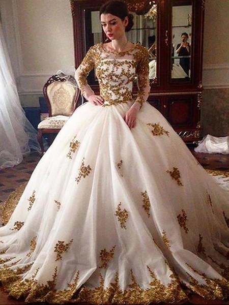 Robe de bal Traîne moyenne Col plongeant Manches longues Tulle Robes de Mariée