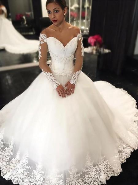 Robe de bal Appliqués Sans Manches Tulle Épaules dégagées Traîne moyenne Robes de Mariée