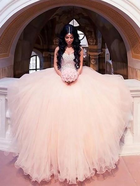 Robe de bal Sans Manches Perles Tulle Col en coeur Traîne courte Robes de Mariée