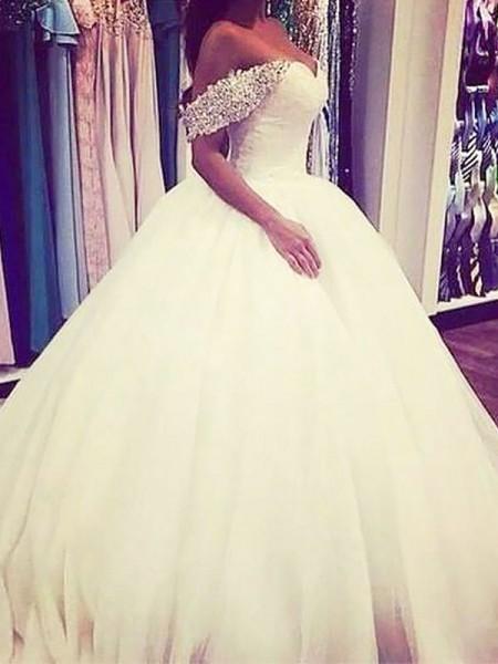 Robe de bal Tulle Épaules dégagées Traîne courte Sans Manches Perles Robes de Mariée