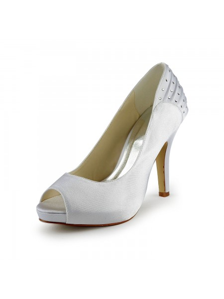 Women's Satin Stiletto Heel Peep Toe With Faux diamants White Chaussures de mariage