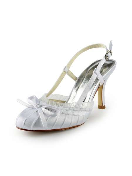 Women's Joli Satin Stiletto Heel Sandals Toe Fermé With Buckle White Chaussures de mariage