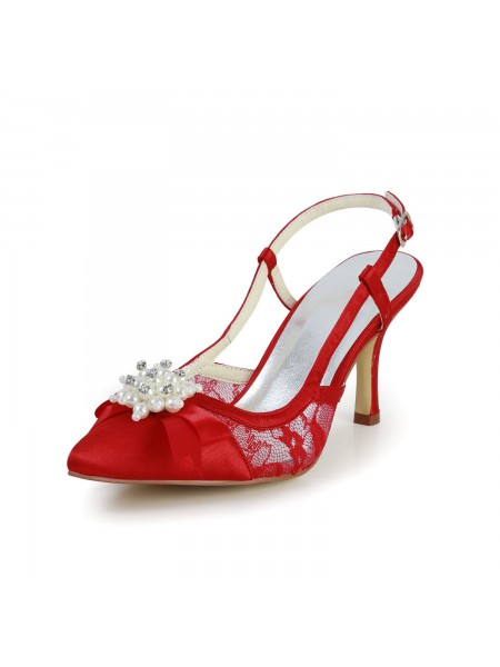 Women's Joli Satin Stiletto Heel Sandals Toe Fermé With Pearl Red Chaussures de mariage