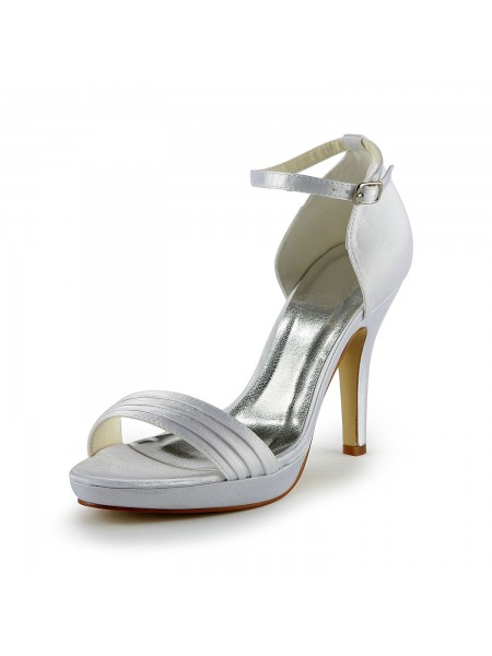 Women's Pretty Satin Stiletto Heel Sandals With Buckle White Chaussures de mariage