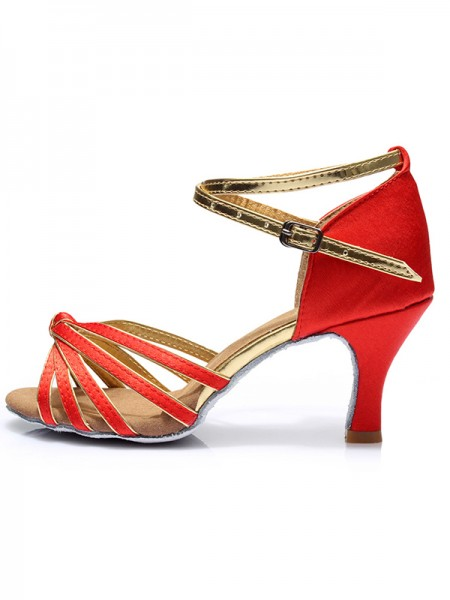 Aux Femmes Kitten Heel Avec Buckle Satiné Peep Toe Des sandales