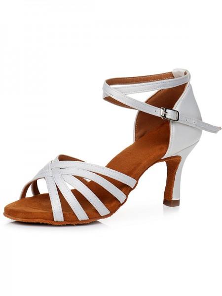 Aux Femmes Peep Toe Buckle Satiné Cone Heel Des sandales
