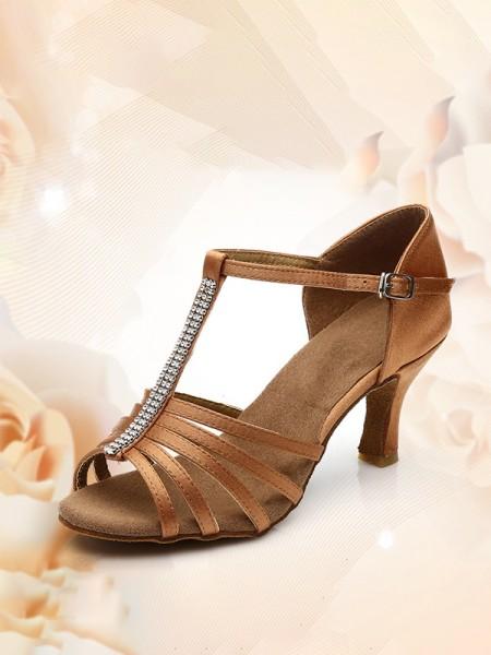 Aux Femmes Satiné Peep Toe Kitten Heel Avec Buckle Des sandales
