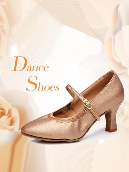 Aux Femmes PU Buckle Closed Toe Cone Heel Chaussures de danse
