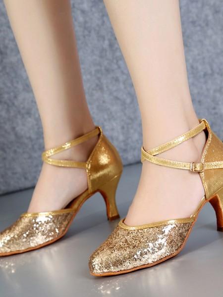 Aux Femmes PU Closed Toe Cone Heel Sparkling Glitter Chaussures de danse