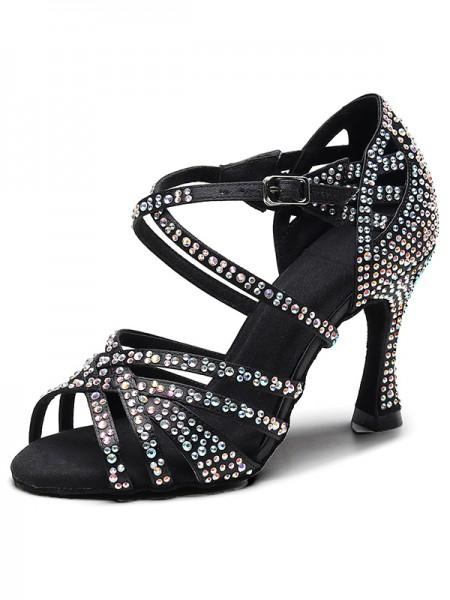 Aux Femmes Suede Peep Toe With Faux diamants Chunky Heel Des sandales
