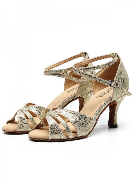 Aux Femmes Sparkling Glitter Peep Toe With Ankle Strap Chunky Heel Des sandales