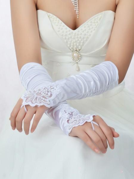 Romantic Dentelle Satin Perles Mariage Des gants