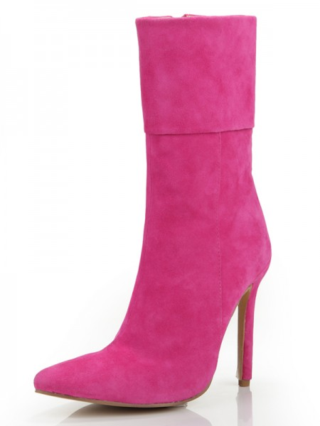 Women's Stiletto Heel Toe Fermé Suède With Zipper Mid-Calf Fuchsia Bottes