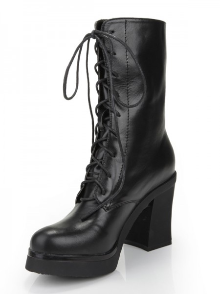 Women's talon Chunky Toe Fermé Cattlehide Cuir With Dentelle-up Mid-Calf Black Bottes