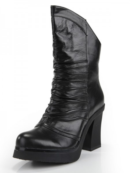 Women's Cattlehide Cuir talon Chunky Toe Fermé With Ruched Mid-Calf Black Bottes