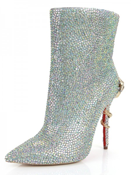 Women's Stiletto Heel Toe Fermé Peau de mouton With Faux diamants Mid-Calf Silver Bottes