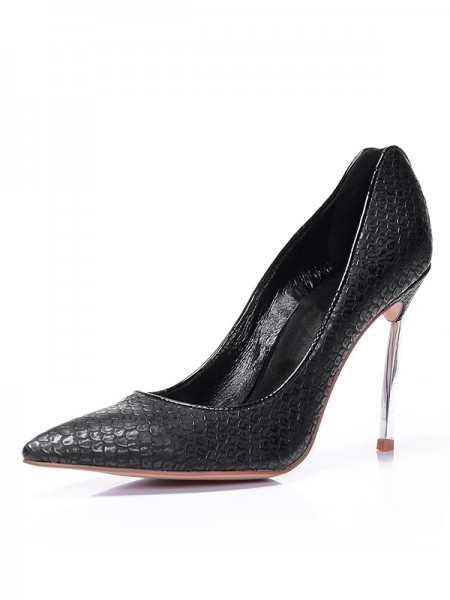 Women's Black Peau de mouton Toe Fermé Stiletto Heel Talons hauts