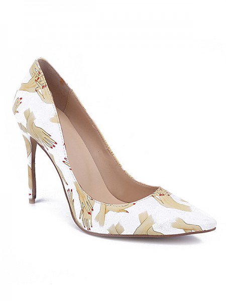 Women's Toe Fermé PU Stiletto Heel With Printing Talons hauts