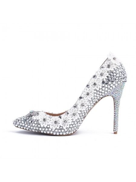 Women's Stiletto Heel Peau de mouton Toe Fermé With Faux diamants Talons hauts