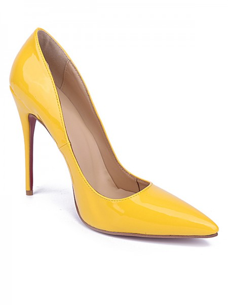 Women's Yellow Toe Fermé Stiletto Heel Cuir verni Talons hauts