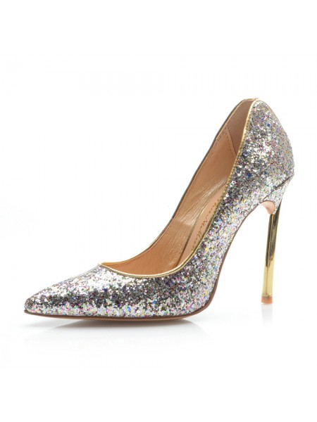 Women's Toe Fermé Stiletto Heel With Sequin Talons hauts