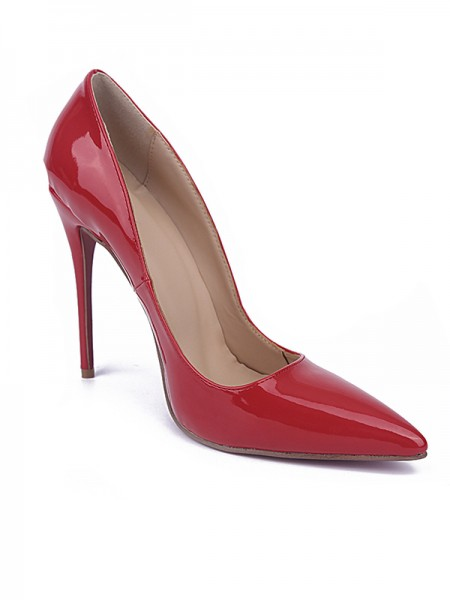 Women's Red Toe Fermé Stiletto Heel Cuir verni Talons hauts