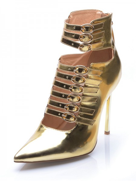 Women's Gold Cuir verni Toe Fermé Stiletto Heel With Buckle Ankle Gold Bottes