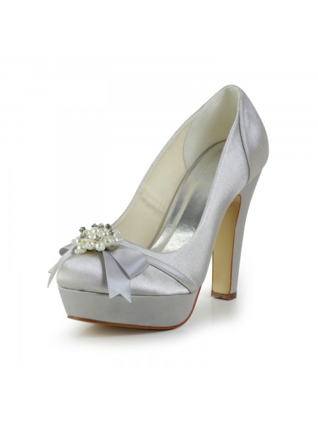 Women's Satin talon Chunky Toe Fermé Plate-forme Silver Chaussures de mariage With Boucles