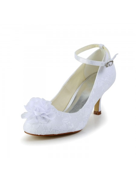 Women's Satin Toe Fermé White Chaussures de mariage With Flower Buckle