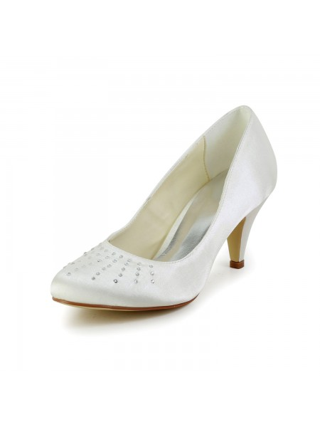 Women's Satin Toe Fermé Cône talon Ivory Chaussures de mariage With Faux diamants