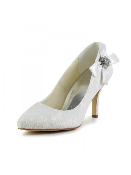 Women's Satin Stiletto Heel Toe Fermé Pumps White Chaussures de mariage With Faux diamants