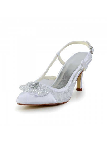 Women's Satin Cône talon Toe Fermé White Chaussures de mariage With Buckle