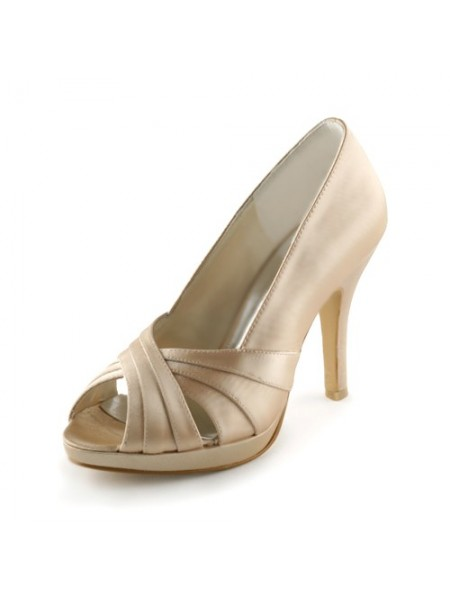 Women's Satin Stiletto Heel Peep Toe Plate-forme Sandals Champagne Chaussures de mariage