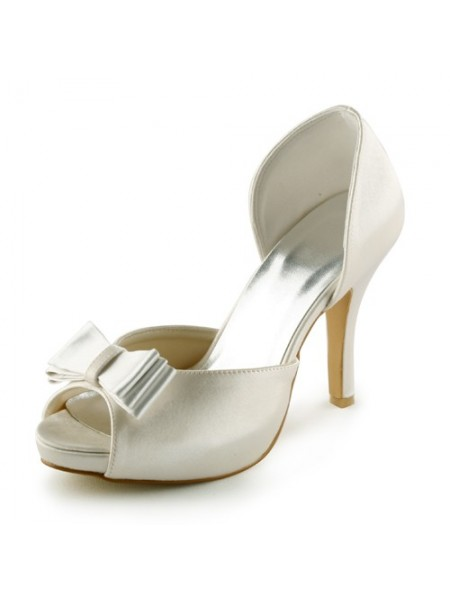 Women's Satin Stiletto Heel Peep Toe Plate-forme Sandals Ivory Chaussures de mariage With Boucles