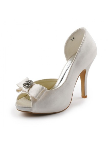 Women's Satin Stiletto Heel Peep Toe Plate-forme Ivory Chaussures de mariage With Boucles