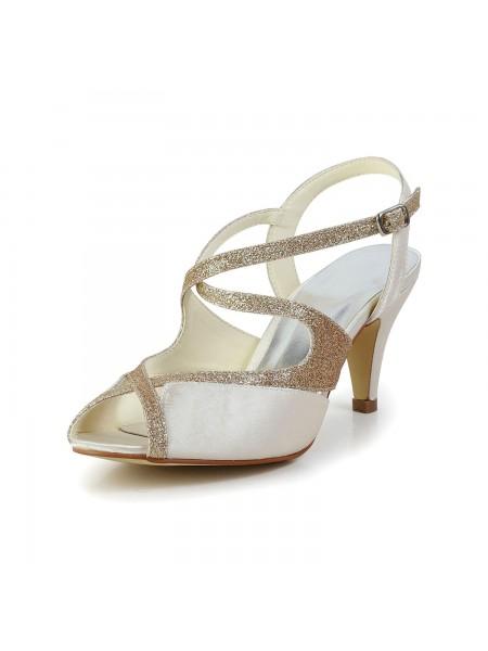 Women's Satin Peep Toe Pumps Sandals Chaussures de danse With Faux diamants