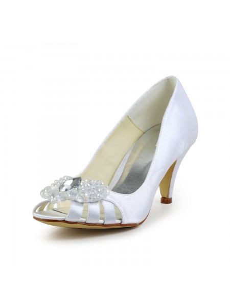 Women's Satin Cône talon Peep Toe Sandals White Chaussures de mariage With Hollow-out
