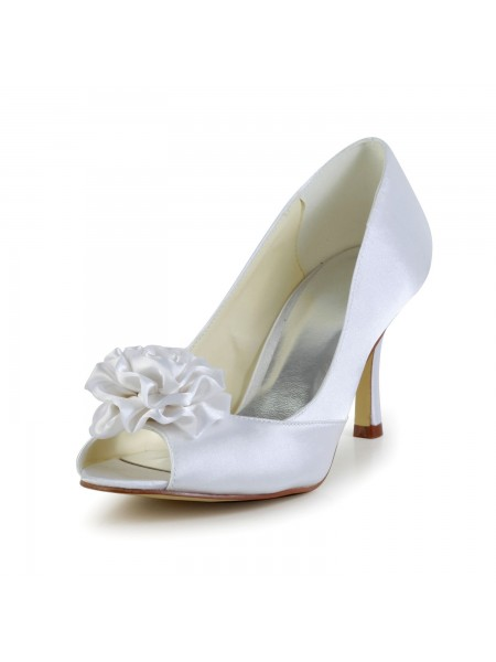 Women's Satin Stiletto Heel Peep Toe White Chaussures de mariage With Flower